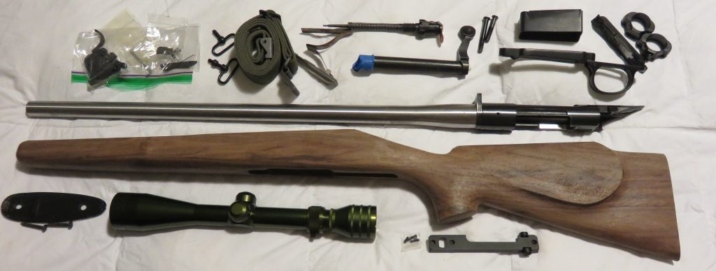 rifle and parts